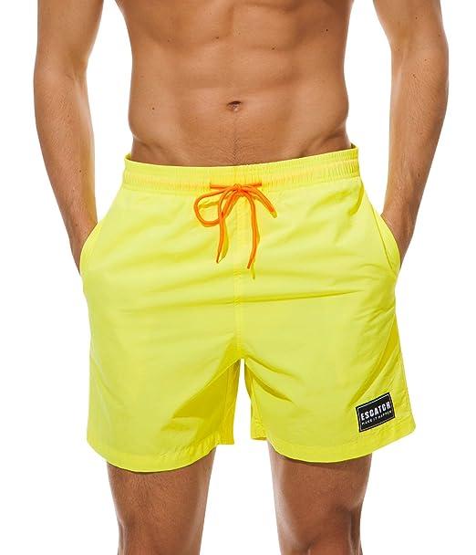 6b8a1bb9df Amazon.com: ESCATCH Men's Solid Drawstring Swim Shorts Dry Fit Swim ...