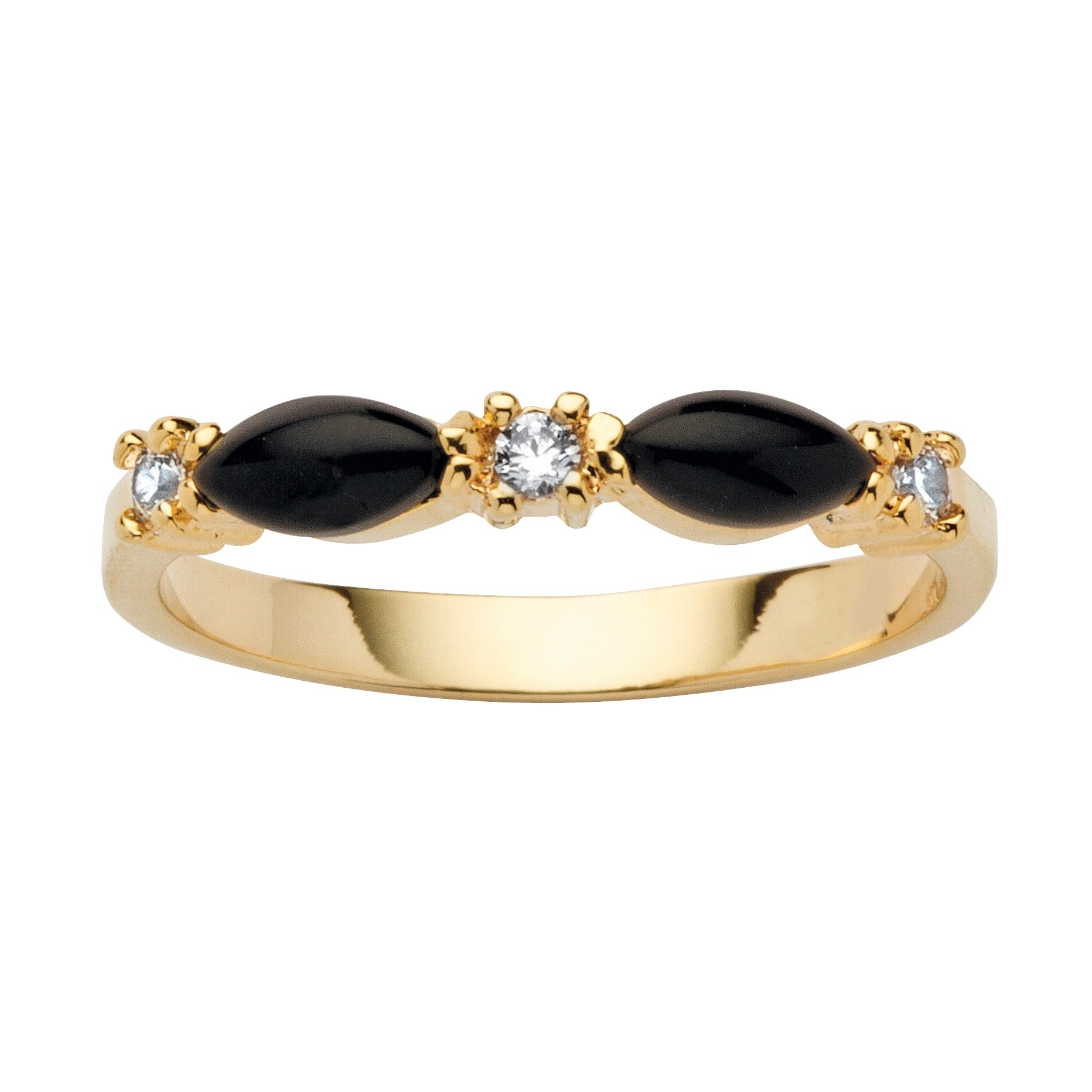 Lux Marquise-Shaped Genuine Black Onyx Crystal Accent 14k Yellow Gold-Plated Ring