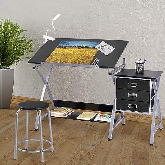 Amazon.com: Tangkula, mesa de dibujo ajustable, para arte y ...