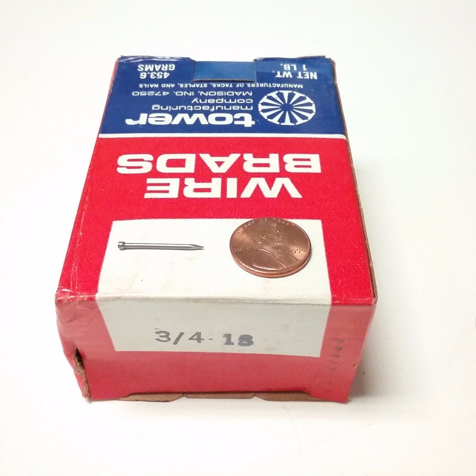 1 Lb. Box of 3/4'' - 18 Ga. Wire Brads - Tower Manufacturing Company - USA