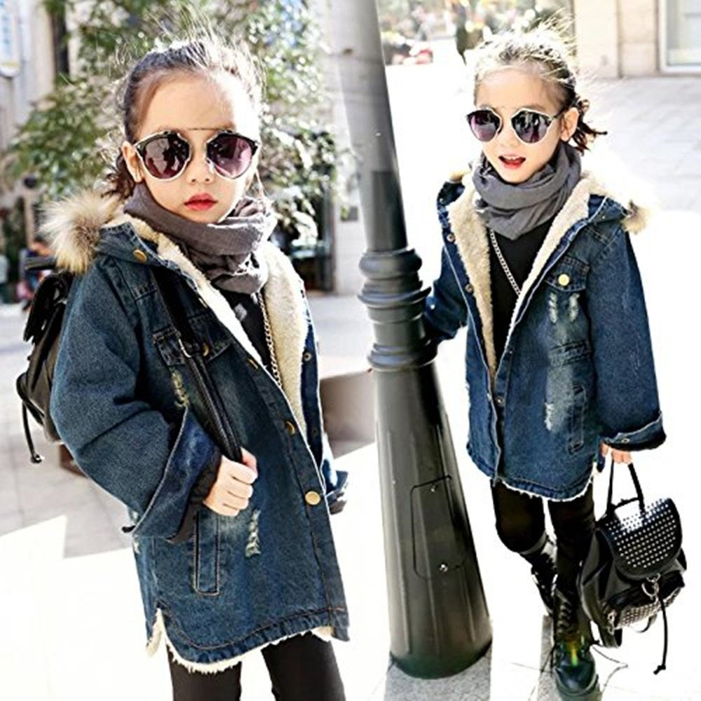 adorable bbgirl kids little big girls winter hooded fur collar thick