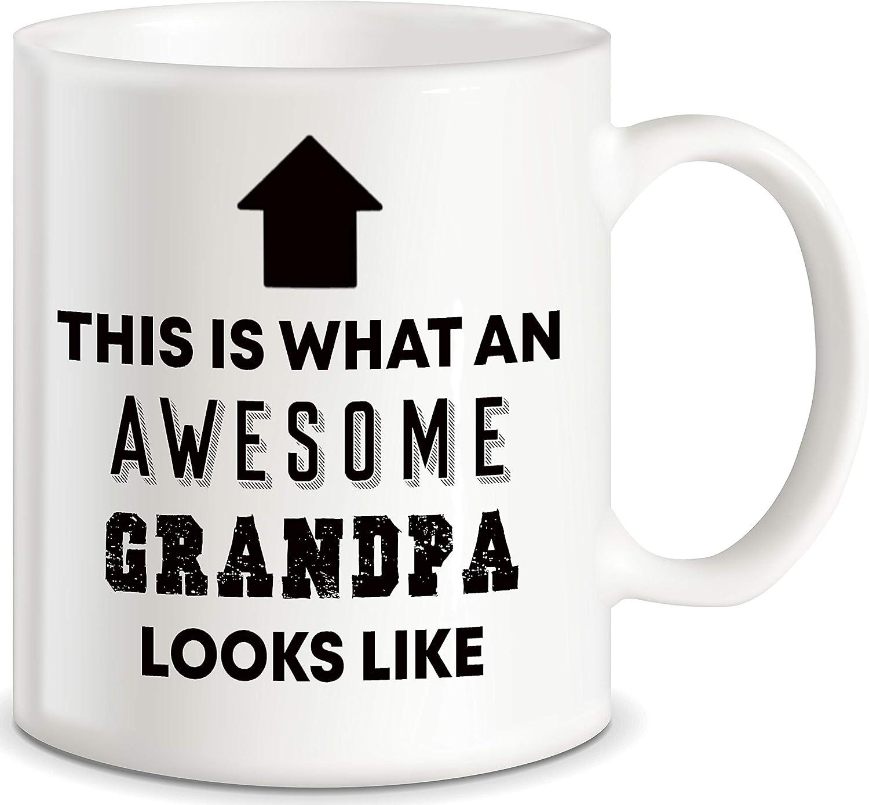 Gifts for Grandpa Best Grandpa Ever Coffee Mug Granddad Tea Cup 11oz Blue Heart
