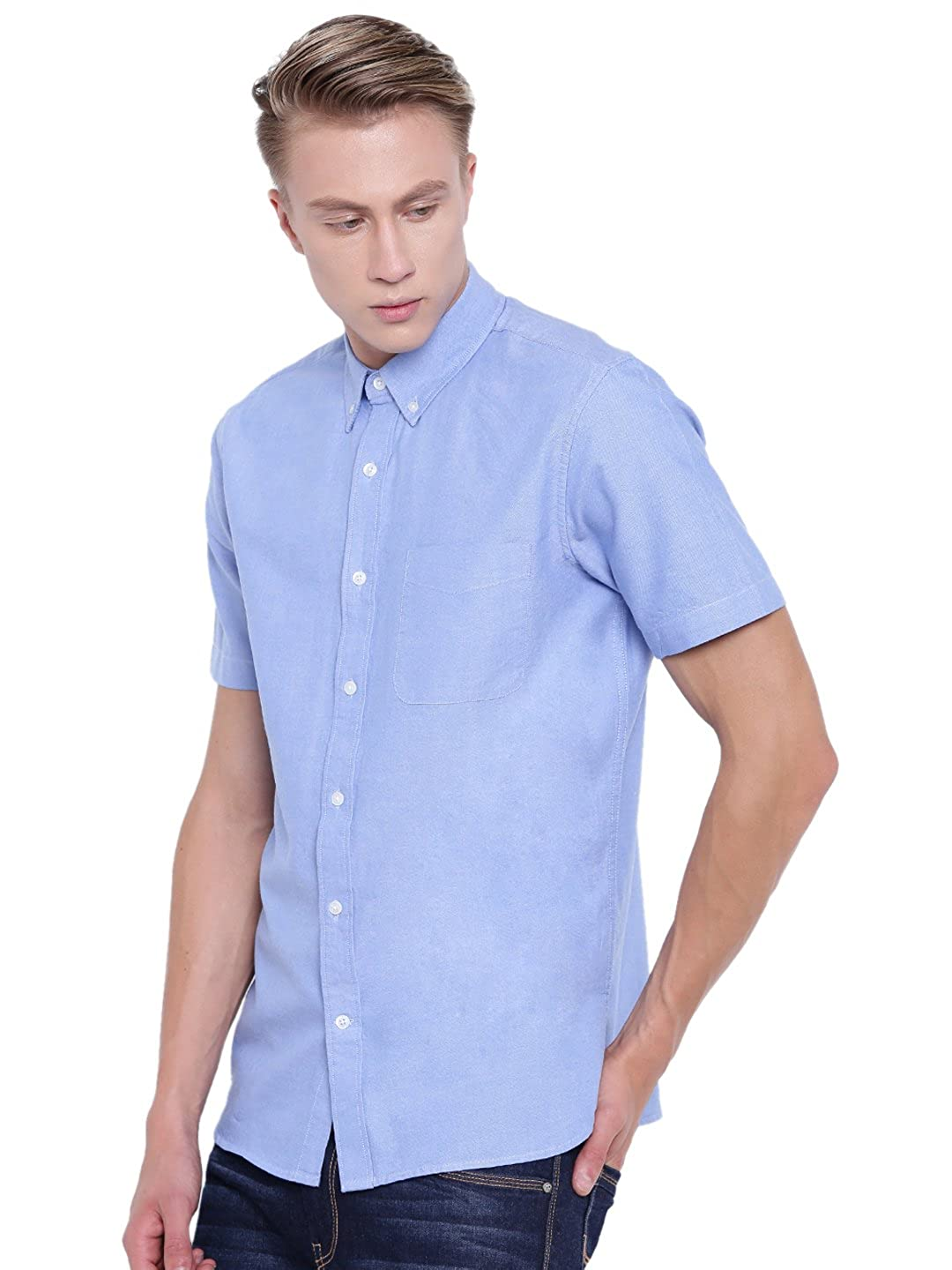 ec87bf2a1242 CottonWorld Men s Blue Short Sleeve Regular FIT Button Down Oxford Shirt   Amazon.in  Clothing   Accessories