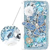 Spritech™ 3D spooff diamante azul con brillanntes blancas y decorar Flor blanco piel, PT-1, Samsung Galaxy S5 Mini