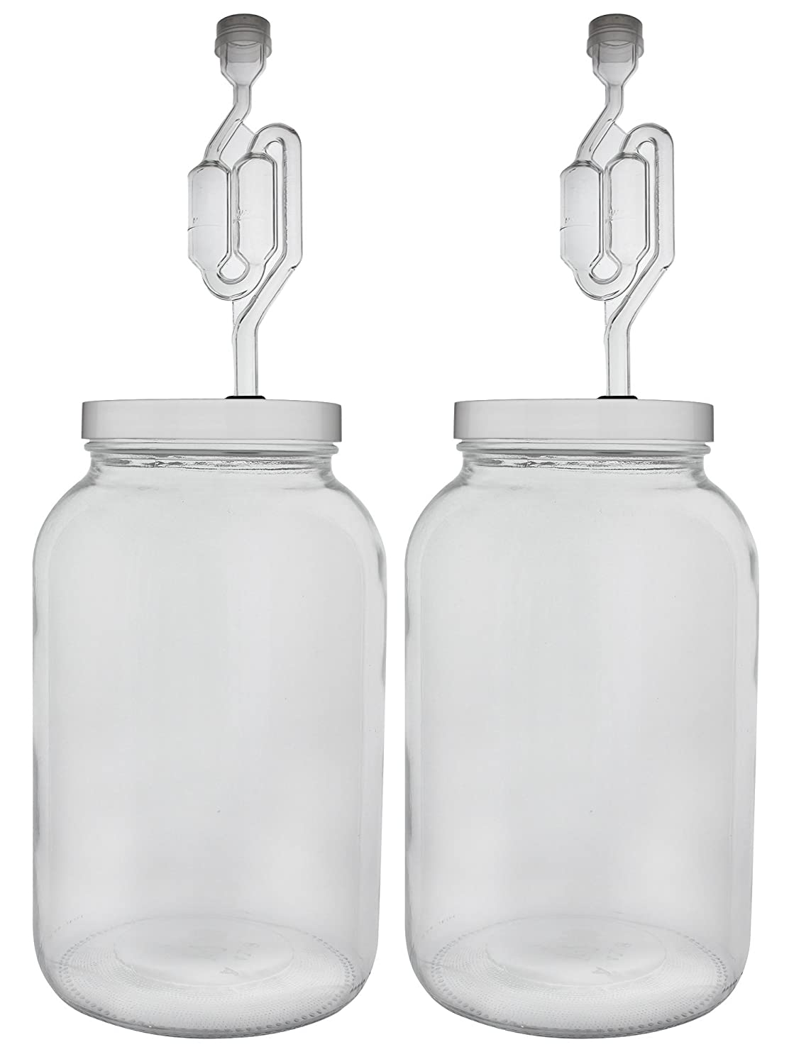 Home Brew Ohio One gallon Wide Mouth Jar with Drilled Lid & Twin Bubble Airlock-Set of 2