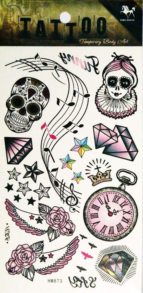 Amazon Com Pp Tattoo 1 Sheet Art Time Clock Ghost Skull