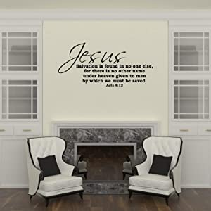Empresal Wall Decal Quote Acts 4:12 Jesus Salvation is Found No One Else Bible Verse Decal