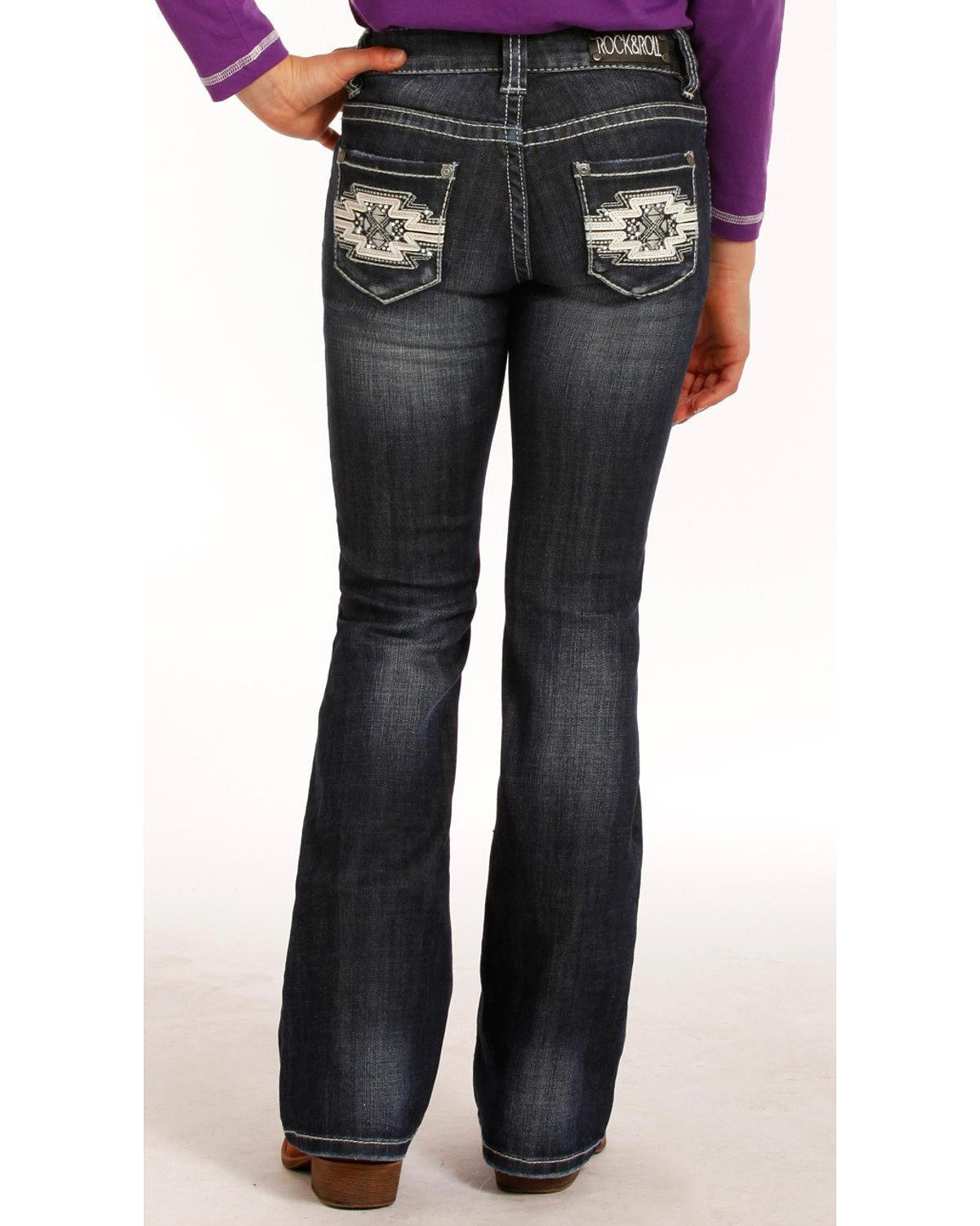 Rock & Roll Cowgirl Girls' and (7-14) Aztec Embroidered Jeans Boot Cut Indigo 8
