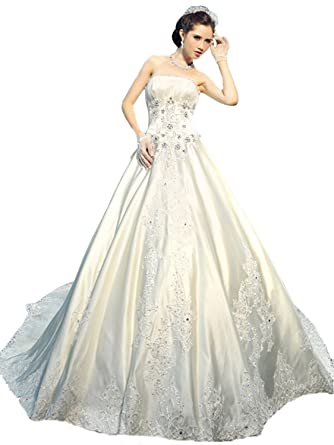 VILAVI Womens Ball Gown Tube Top Satin Crystal Wedding Dresses UK 12 Ivory