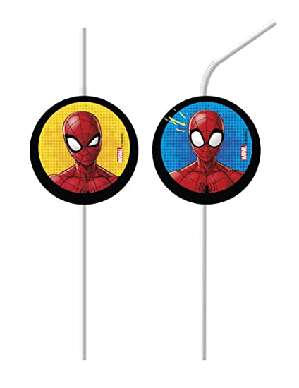 COOLMP - Lote de 12 pajitas medallón Spiderman - Talla única ...