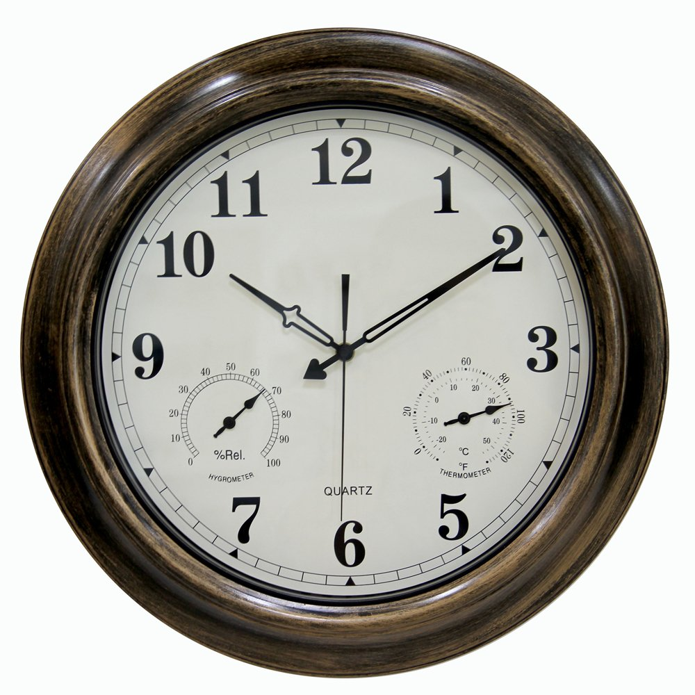 Charming Large Outdoor Clock Part - 11: Amazon.com: SkyNature 18 Inch Large Decorative Metal Indoor/Outdoor Wall  Clock Waterproof With Temperature And Humidity: Home U0026 Kitchen