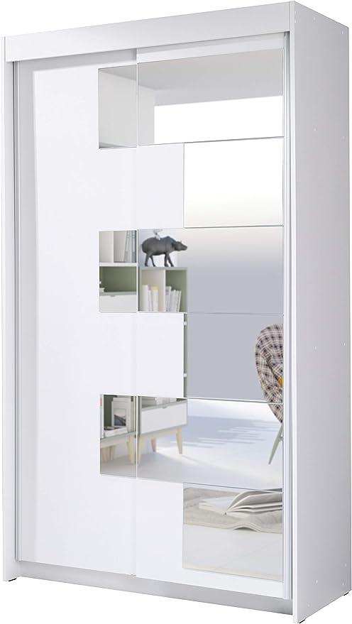 Armoire 2 Portes Coulissantes Avec Miroir Szach Largeur 120cm Hauteur 216cm Profondeur 60cm Blanc Amazon Fr Cuisine Maison
