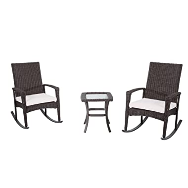 Outsunny 3 Piece Outdoor Rocking Chair and Tea Table Set - Coffee Brown/Beige