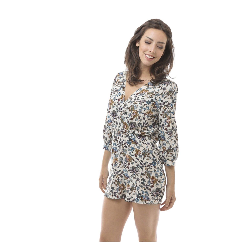 Emma's Mode Women's 3/4 Sleeve Plunging Neckline Printed Short Romper
