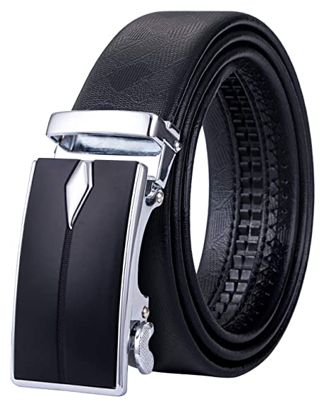 "1-3//8/"" Blk Auto Ratchet Buckle Leather Zinc Alloy Cowhide Xhtang Men/'s Belt"