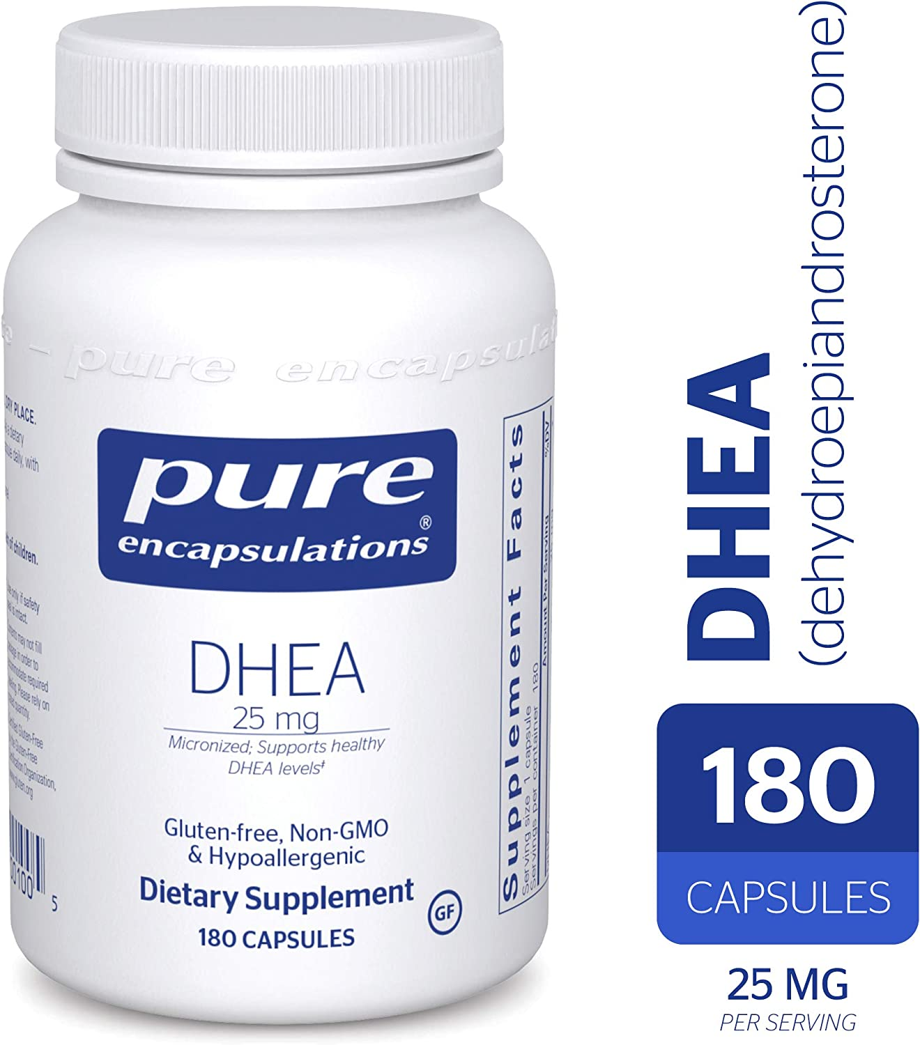 Pure Encapsulations – DHEA Dehydroepiandrosterone 25 mg – Micronized Hypoallergenic Supplement – 180 Capsules