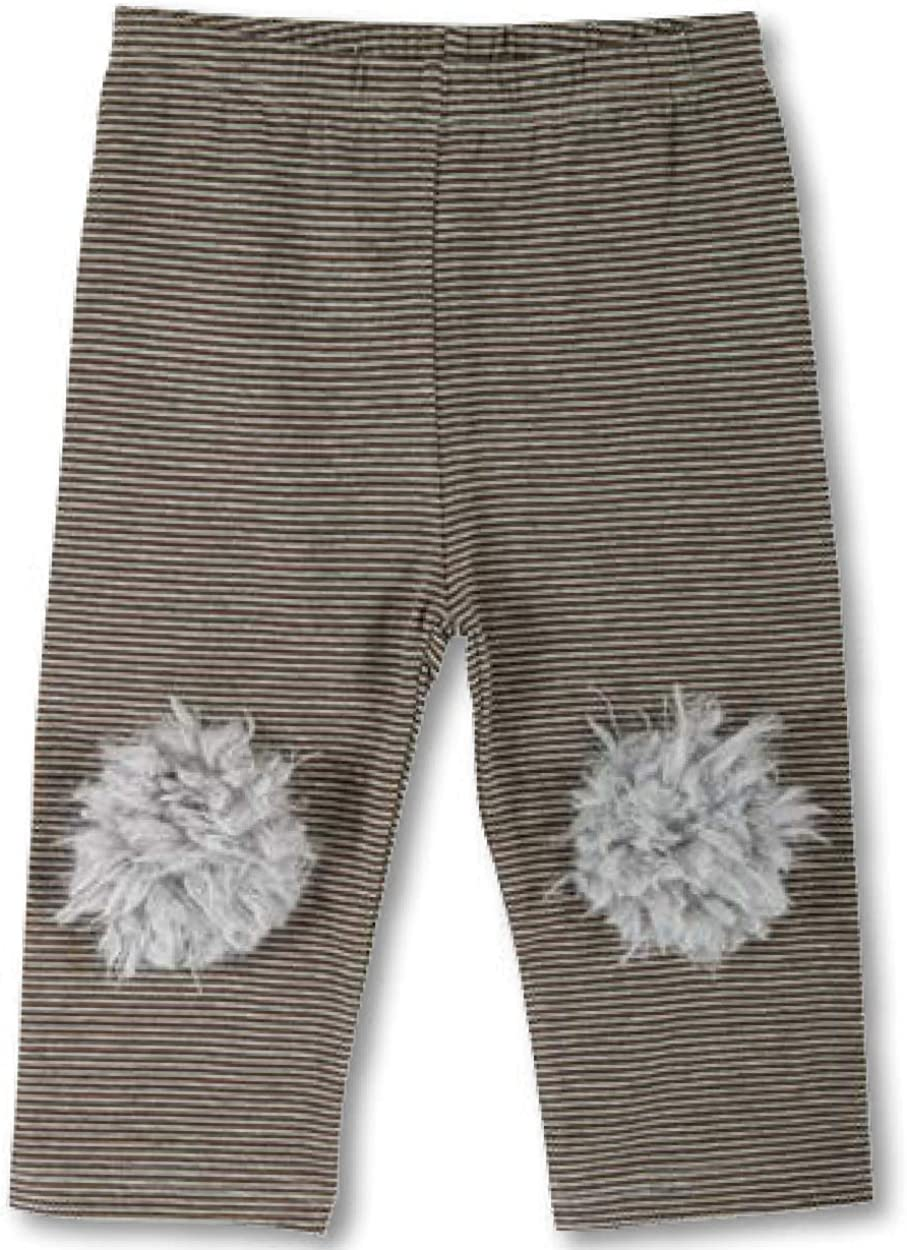 Stephan Baby Pants with Furry Knees Brown//Grey Stripe 6-12 mos