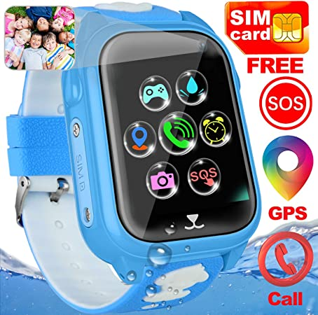 Include SIM Card Kids Smart Watch 3-12 Girls Boys Gift Kids Watch GPS Tracker Touchscreen Phone Watch Kid Waterproof Sport Watch Electronic Learning Wear Technology Call SOS Voice Chat Smartwatch