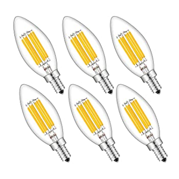 CRLight 6W 700LM Dimmable LED Candelabra Bulb 2700K Warm White