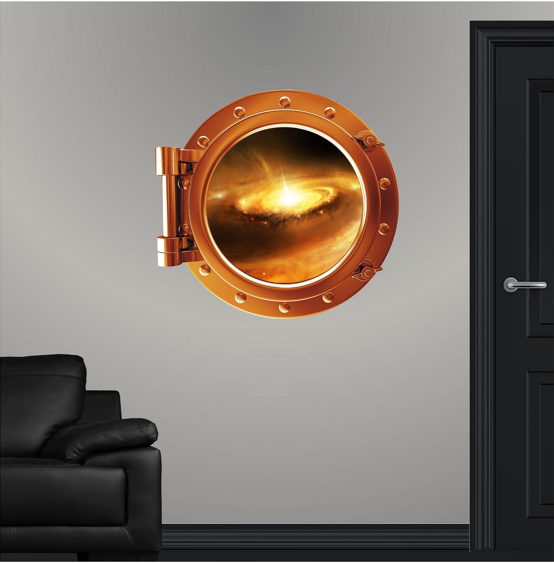 24'' COLORED PORTSCAPE Orange Instant Space Ship Window View STELLAR NURSERY #1 Porthole Graphic Sticker Children Mural
