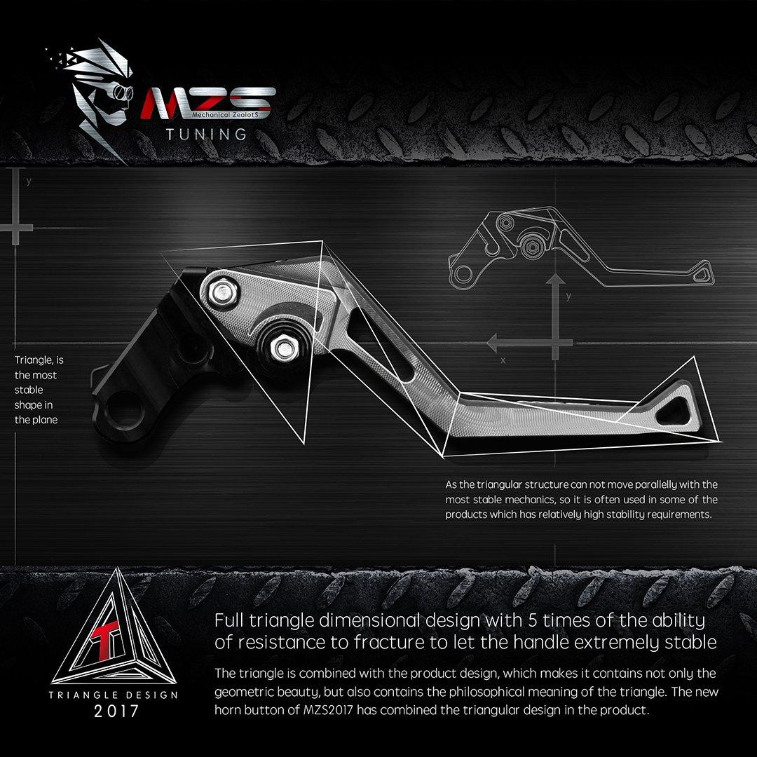 MZS Short Levers Adjustment Brake Clutch CNC for Yamaha FZ07 MT07 14-18// FZ09 MT09 14-18// FJ09 15-18// FZ1 06-13// FZ6 04-10// FZ6R 09-15// FZ8 11-15// XJ6 09-15// XSR 700 900 16-18 Silver