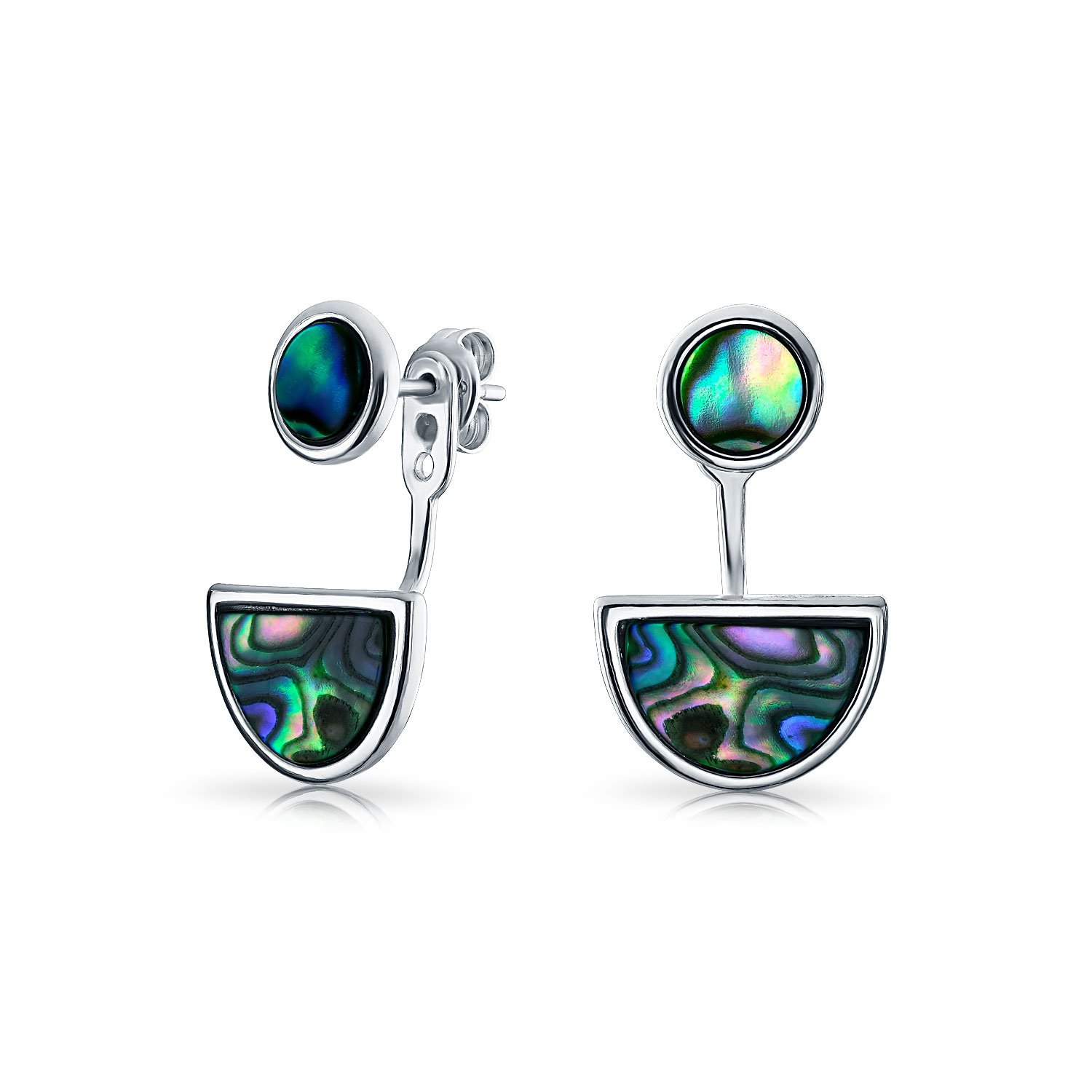 .925 Silver Abalone Circle Half Moon Front Back Earrings