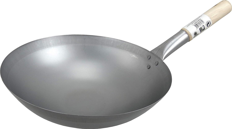 JADE TEMPLE - Wok en acero al carbono con base redonda de 33 cm de diámetro y mango de madera, 17284