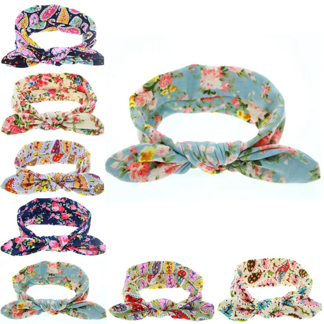 Baby Girl Headband Bunny Ears Floral Girls' Head Wrap Turban Baby Headband 8 Pcs Yzjcafriz