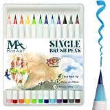 Brush Pen Set - 12 Colors - Soft Flexible Real Brush Tip, Durable, Premium Grade,Create Watercolor Effect - Best for Adult Coloring Books, Manga, Comic, Calligraphy - Dual Thickness - MozArt Supplies