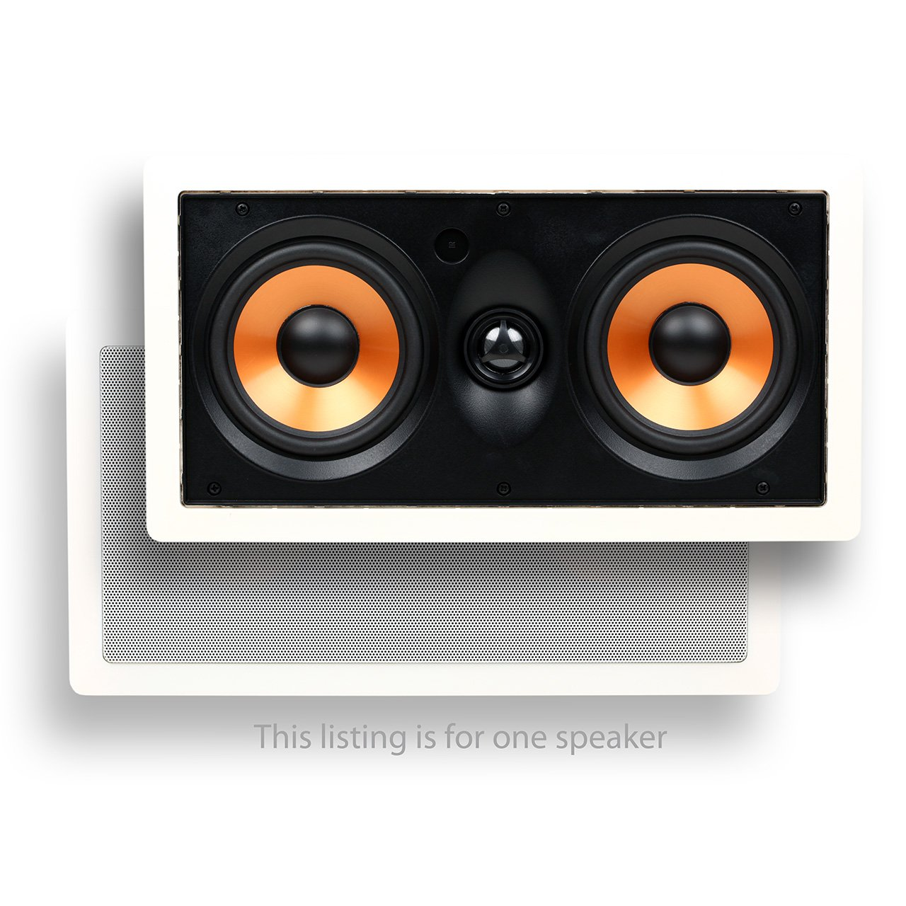 Micca M-CS Center Channel In-Wall Speaker with Dual 5.25 Inch Woofers and Pivoting 1'' Silk Dome Tweeter (Each, White)
