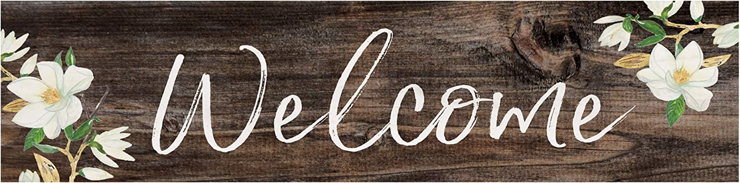 P. Graham Dunn Welcome Magnolia Brown 6 x 1.5 Mini Pine Wood Tabletop Sign Plaque