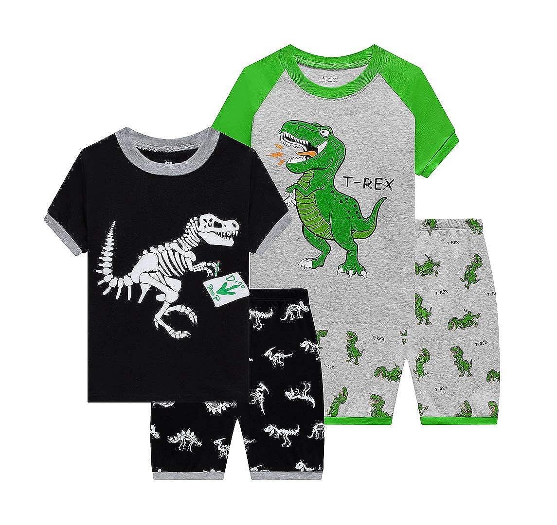Benaive Pajamas for Boys Pjs for Boy Cotton Pajama 4-Piece Children Sleepwear Pants Set
