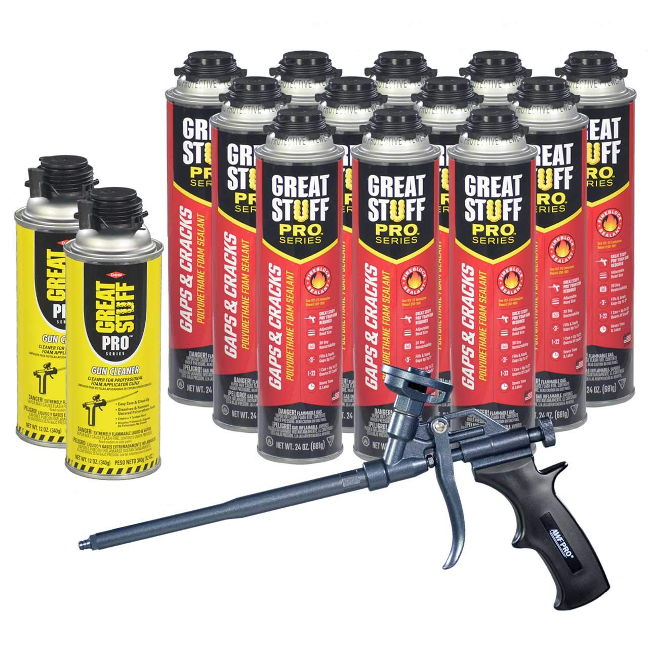 Dow Great Stuff Pro Gaps and Cracks 24 oz Foam (12) + AWF Teflon Pro Foam Gun (1) + Dow Great Stuff Pro foam Gun Cleaner (2) by Great Stuff
