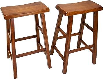 """eHemco 24/"""" Saddle Seat Bar//Counter Stools Set of 3"""