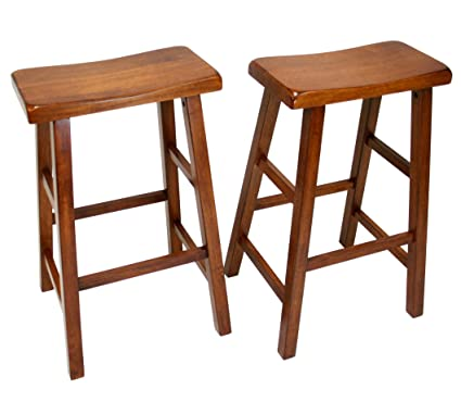 Amazoncom Ehemco Set Of 2 Heavy Duty Saddle Seat Bar Stools