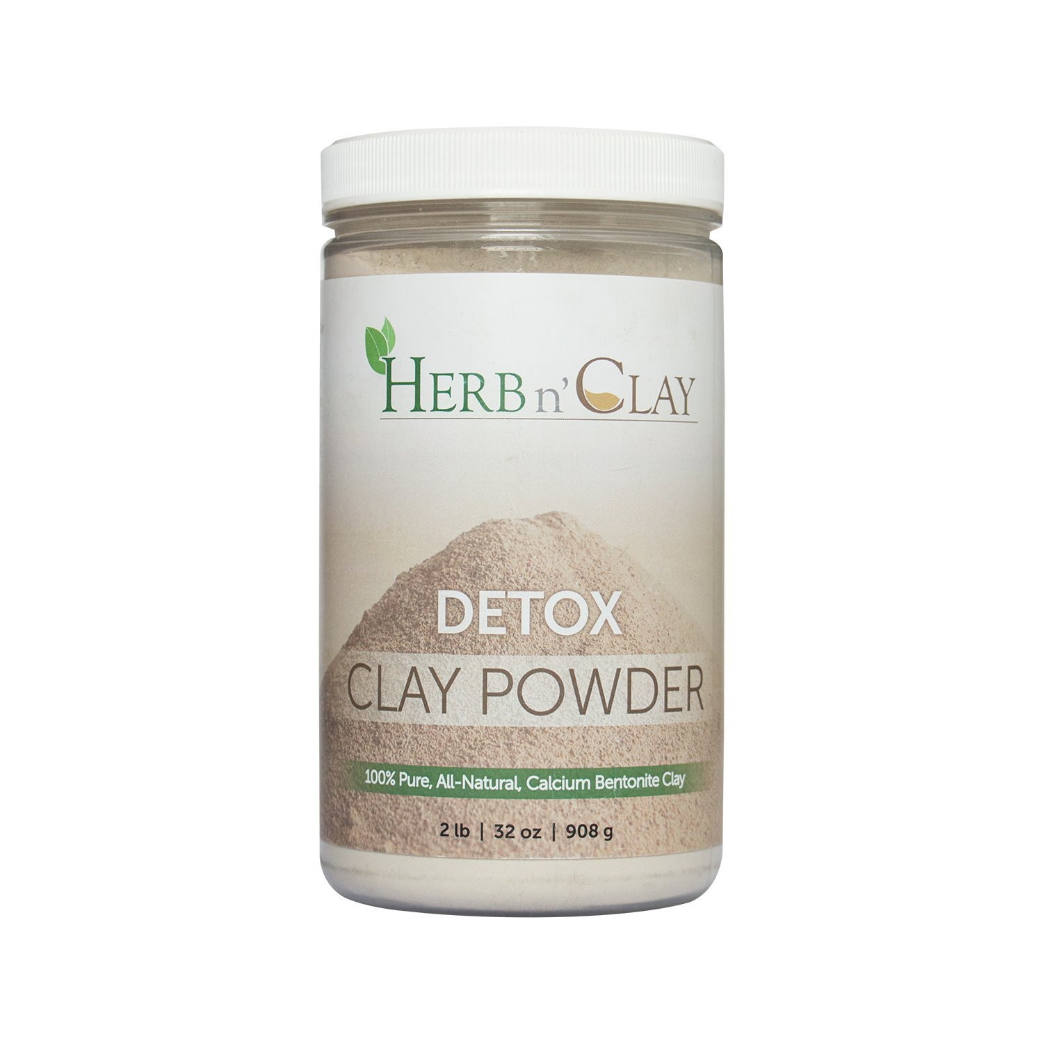 Herb n Clay 100 Natural Calcium Bentonite Detox Clay Powder 32 Ounce 2 Pound — for Detoxification, Colon Cleanse, Body Balance and Energy , Good for Internal n External Use