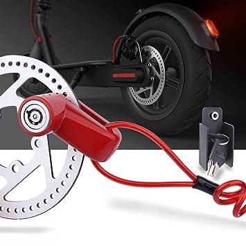TOMALL Freno de Disco Rojo Bloqueo antirrobo Cable de Acero Bloqueo para Xiaomi Mijia M365 Motocicleta Bicicleta Ruedas Armario con recordatorio: Amazon.es: ...
