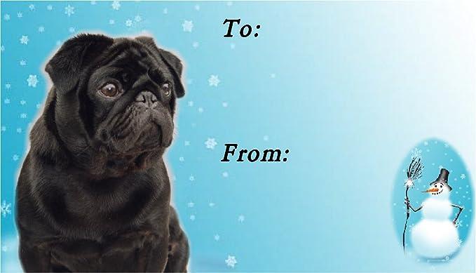 Pug Dog Christmas Labels by Starprint No 3