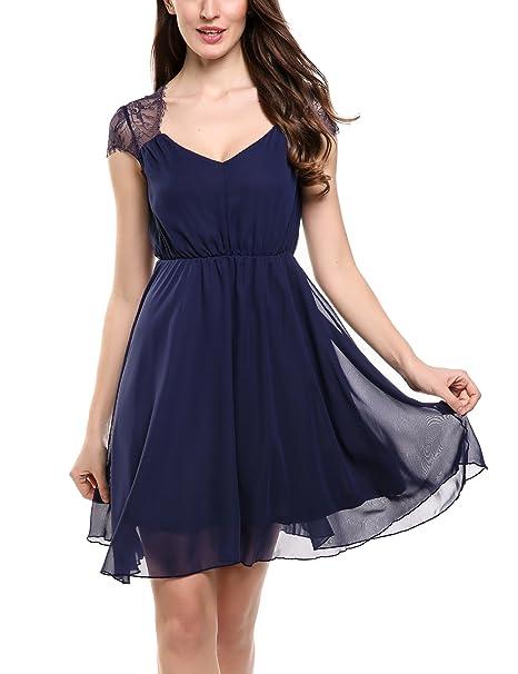 toller Wert modische Muster heiße neue Produkte Zeagoo Damen Elegant Sommerkleid Chiffon Kleid Festliches Cocktail Party  Kleid mit Spitze Kurz A Linie
