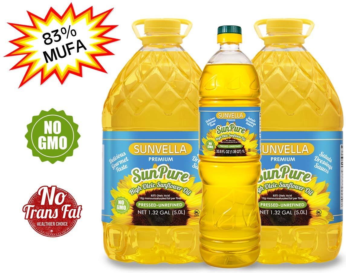 SUNVELLA SunPure Non-GMO High Oleic Sunflower Oil, Pressed-Unrefined Pack of 3 (2 x 1.32 GAL + 33.8 FL OZ) by SUNVELLA