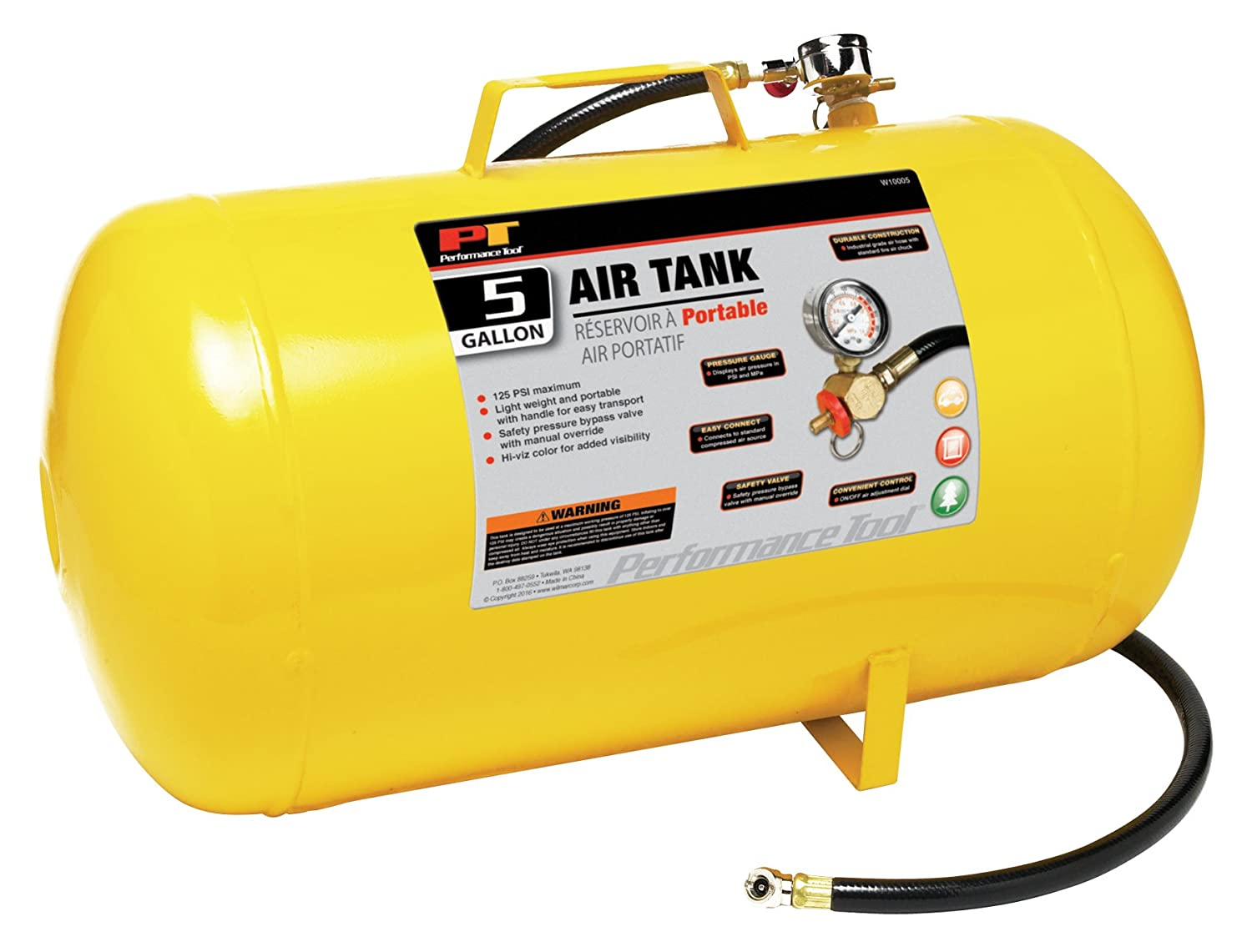 Performance Tool W10011 Hi-viz 11-Gallon Horizontal Portable Air Tank With Tire Air Chuck Wilmar