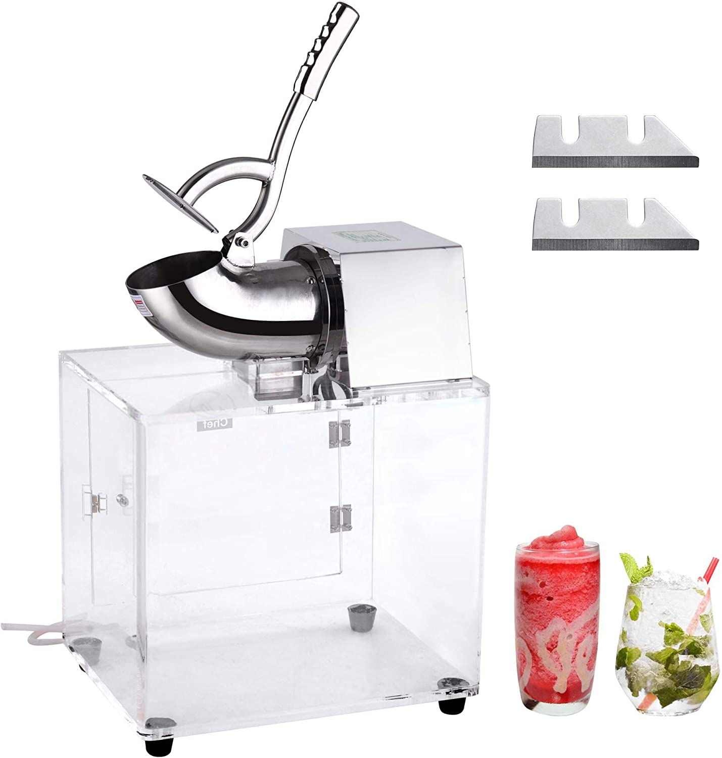 Amazon Com Yescom Electric Snow Cone Machine Slush Maker Stainless Steel Ice Shaver Crusher Dual Blades 250w 440lbs Home Commercial Kitchen Dining