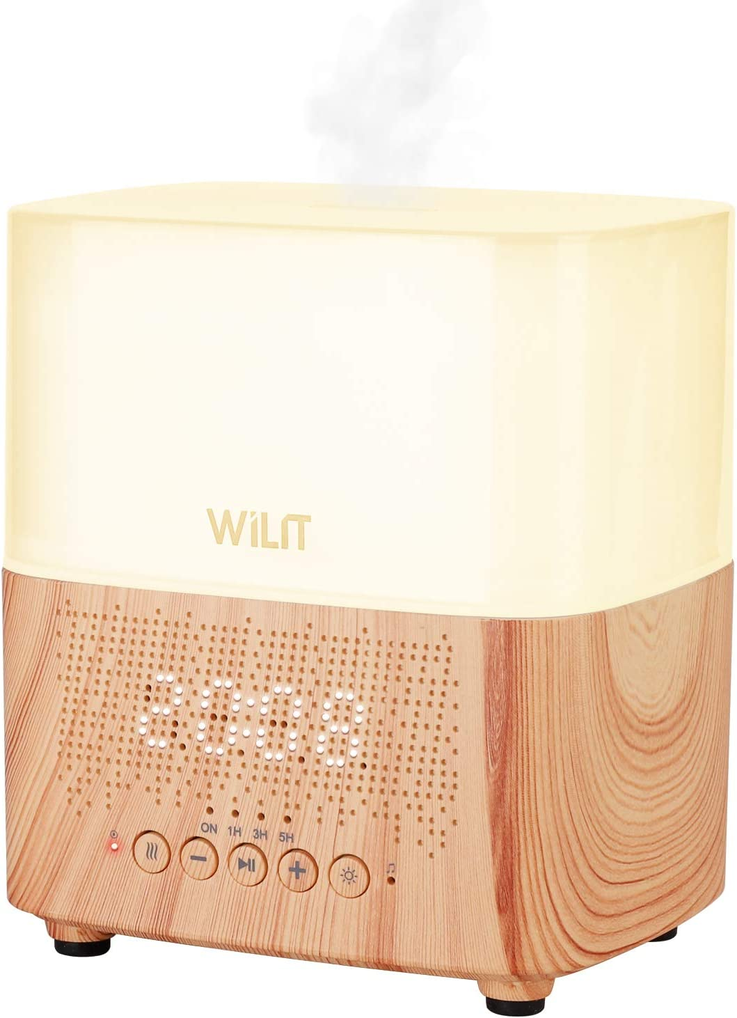 WILIT Difusor de Aromas con Reloj Despertador, Luz Ambiente de Colores y Altavoz Bluetooth, Humidificador Ultrasónico de Aceite Esencial 300ml con Temporizador y Función de Apagado Automático