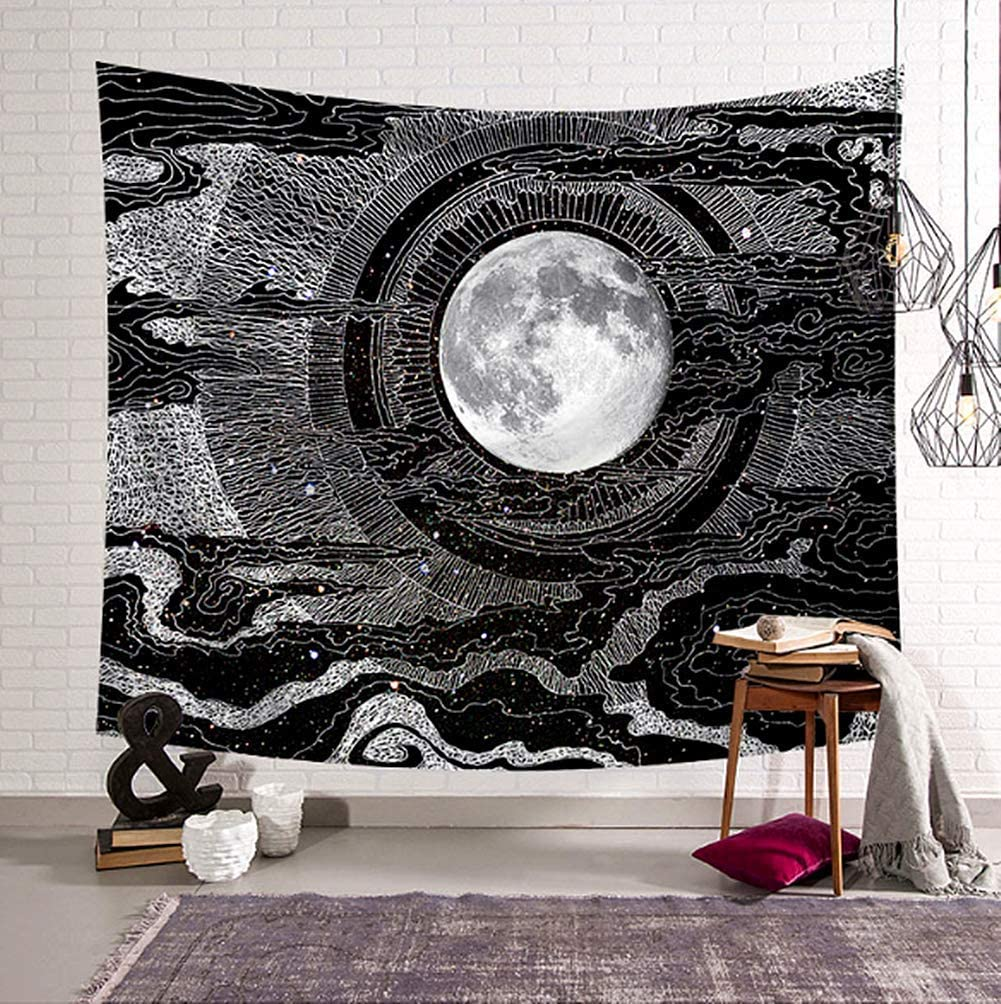 Jasion Moon and Star Tapestry Clouds Psychedelic Black and White Wall Hanging Art for Home Headboard Bedroom Living Room Dorm Decor in 51x60 Inches