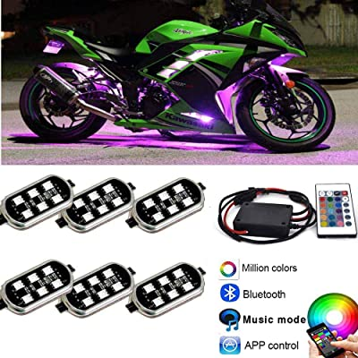 Kingshowstar 6PODS Motorcycle LED Accent Glow Neon Light - Multi-Color Ground Effect Atmosphere Lights with waterproof Bluetooth Controller for Harley Honda Kawasaki Suzuki Ducati Polaris KTM BMW: Automotive