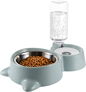 HXN Double Dog Cat Bowls, Water and Food Bowl Set with Detachable Stainless Steel Bowl, Automatic Water Dispenser Bottle, Pet Feeder for Small Medium Size Dog Cat