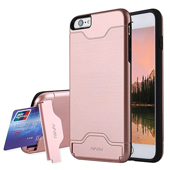 super popular d4bb1 8a3a2 NAISU iPhone 6 Plus/6S Plus Case, Card Slot Holder Kickstand Dual Layer  Hybrid Protective Case with Brush Finish Back Cover for Apple iPhone 6  Plus/6S ...