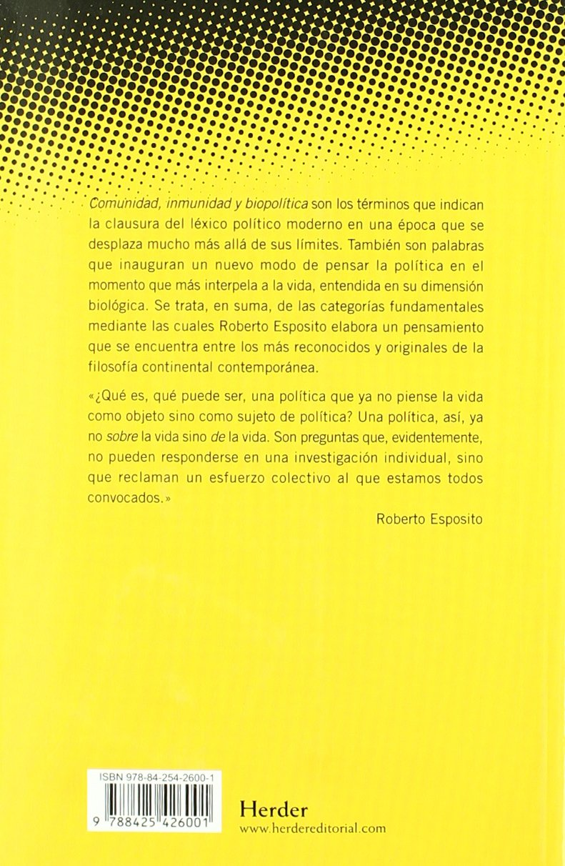 Comunidad, inmunidad y biopolítica Pensamiento Herder: Amazon.es: Roberto Esposito: Libros