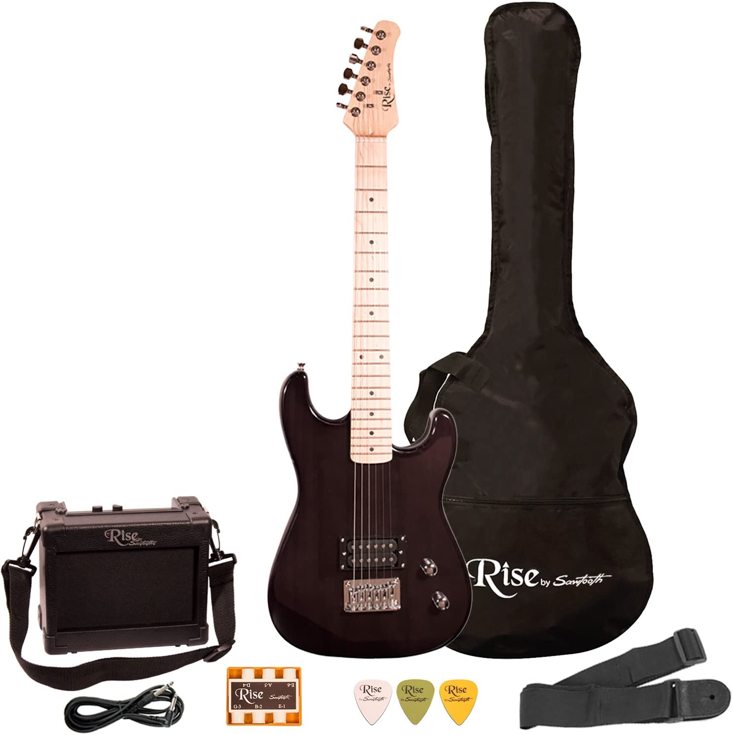 Rise by Sawtooth ST-RISE-ST-3/4-BLK-KIT-1 Electric Guitar Pack