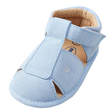 7291fbf17 Image Unavailable. Image not available for. Color  EnjoCho Infant Baby Boys  Girls PU Leather Soft Sole Anti-slip Summer Sandals ...